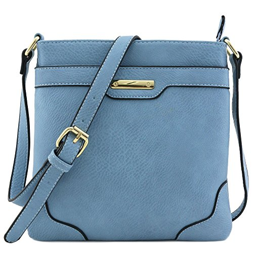 Women's Medium Size Solid Modern Classic Crossbody Bag with Gold Plate (Dusty Blue)
