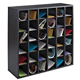 Safco Products 7766BL Wood Mail Sorter, 36 Compartment, Black