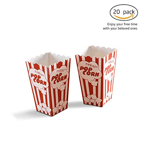 [Unichart Set of 20 PCs Movie party Carton Popcorn boxes -Striped White and Red Paper popcorn boxes - Great for movie night or movie party theme, theater themed decorations or Carnival] (Diy Popcorn Costume)