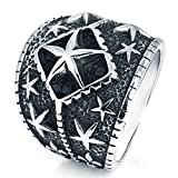 Aooaz Jewelry Titanium Steel Ring for Men Multi Star Thumb Ring Silver Punk Ring US Size 11