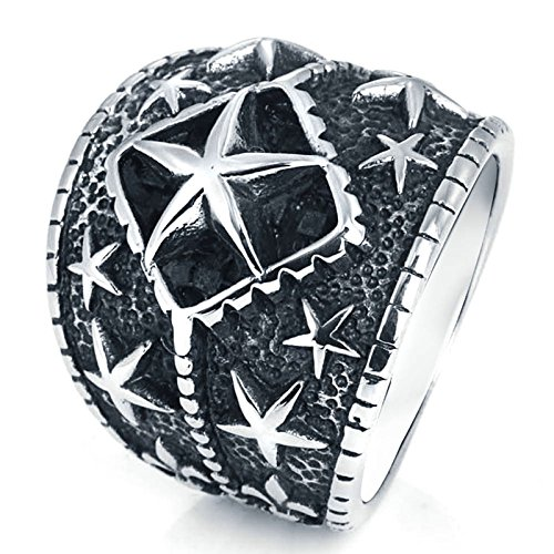 Aooaz Jewelry Titanium Steel Ring for Men Multi Star Thumb Ring Silver Punk Ring US Size 11 by Aooaz