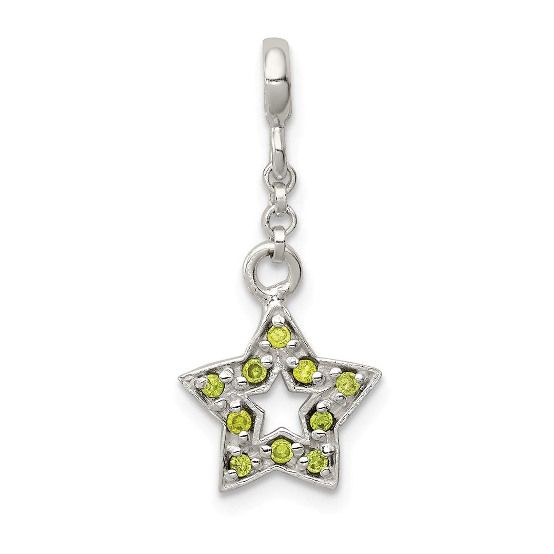 ICE CARATS 925 Sterling Silver Green Cubic Zirconia Cz Star 1/2in Dangle Enhancer Necklace Pendant Charm Celestial Fine Jewelry Ideal Gifts For Women Gift Set From Heart