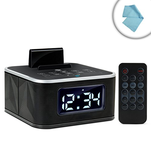 GOgroove Universal Bluetooth Clock Radio with NFC , Charging Stand , FM Radio and Dual Alarm - Works With Microsoft Surface 3 , NVIDIA Shield , Sony Xperia Z4 and More Tablets by GOGroove