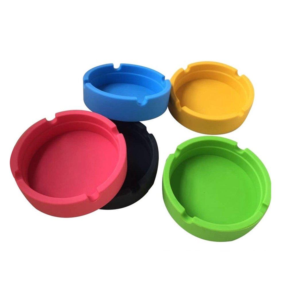 Takestop® - Juego de 4ceniceros redondos de plástico, colores aleatorios MOON 10011069