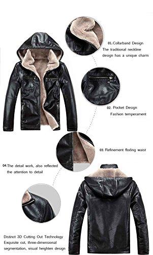 black más abrigos cuero Sombrero Desmontable terciopelo de cálido l couro Invierno de PU los Chaquetas la hombres casuales jaqueta de de H8FxSnwqz