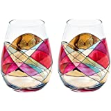 ANTONI BARCELONA Stemless Wine Glass - SET 2 - Unique Hand Painted Gifts for Women, Men, Wedding, Anniversary, Couples, Engagement