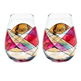 ANTONI BARCELONA Stemless Wine Glass – SET 2 – Unique Hand Painted Gifts for Women, Men, Wedding, Anniversary, Couples, Engagement