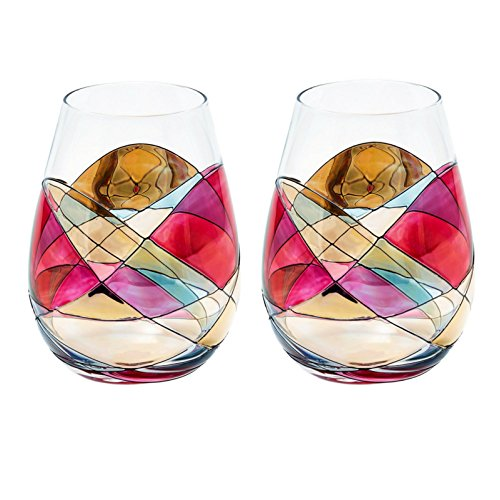 - ANTONI BARCELONA Stemless Wine Glasses RED 21Oz - SET 2 - White or Red Wine, Unique Gifts Weddings Birthday Anniversary, Hand Painted & Mouth Blown Stunning Glassware Collection Popular Colorful (2)