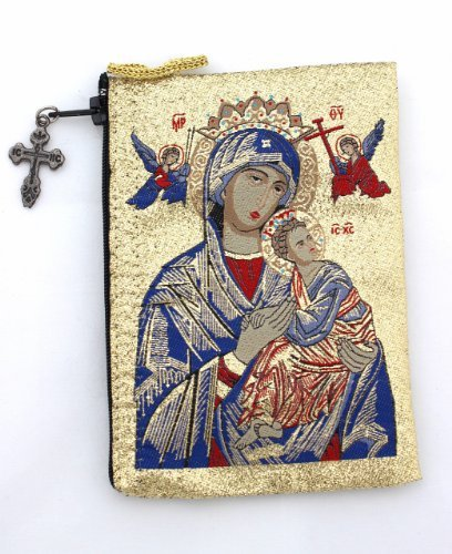 Religious Gift Our Lady Ol of Perpetual Help with Jesus Christ the Teacher Icon Cloth Tapestry Rosary Zipper Close Pouch Keepsake Holder (BlueMary TIP8)