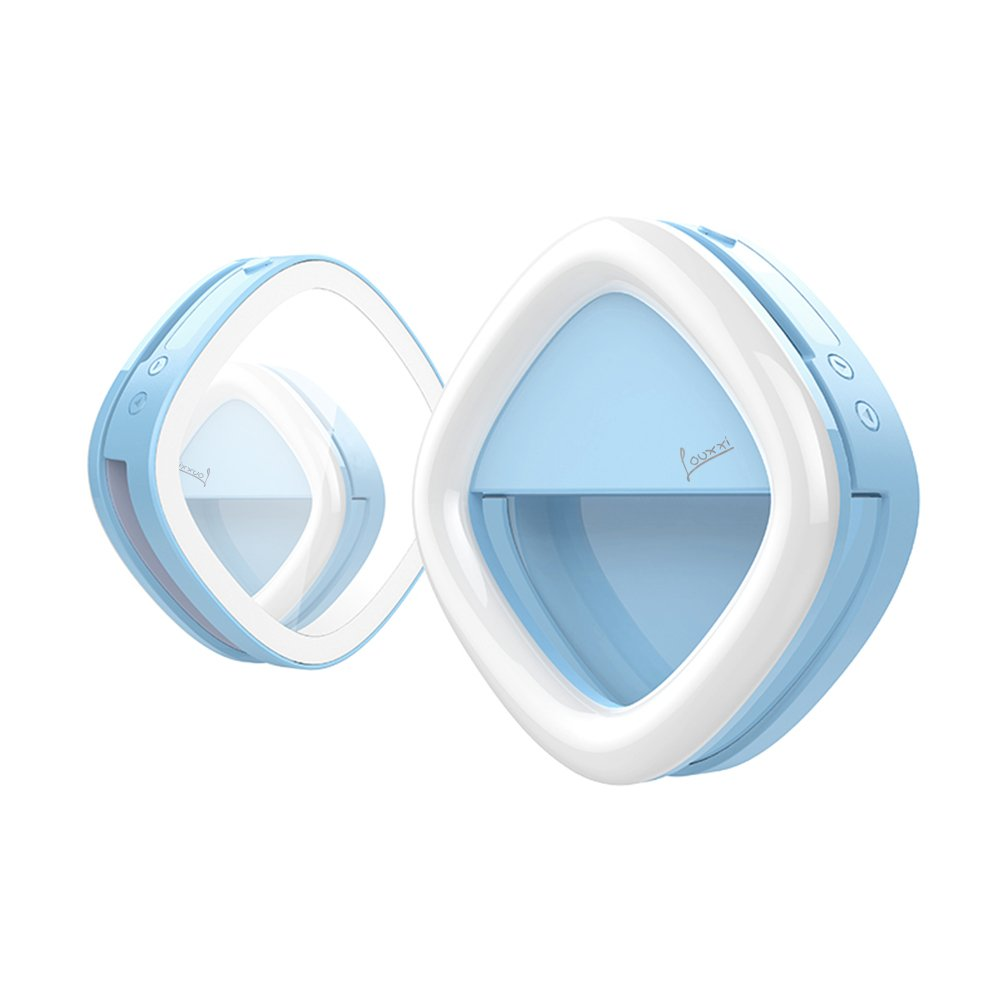 Selfie Ring Light for Camera with Rear Dimmable, Illuminated, Makeup Mirror. 53 LED, Rechargeable, 3 Light Colors, 3 Light Intensity. For iPhone, iPad, Samsung Galaxy, Android Phones, Laptops. Blue