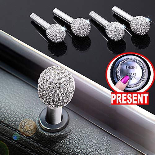 Lock Rod Set - U&M 4pcs/Set Bling Bling Car Door Lock Pull Rod Bolt Cover Interior Trim Rhinestones Bling Car Accessories for Women Universal Fit