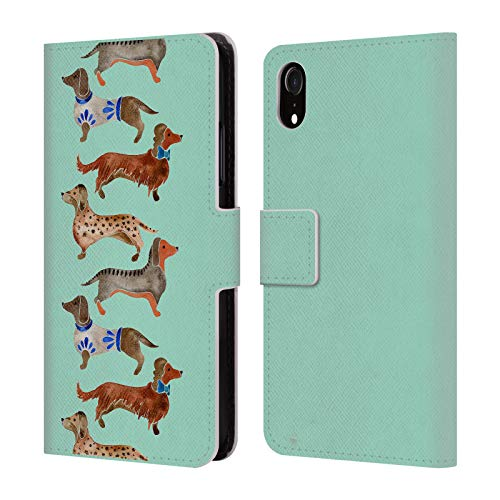 Official Cat Coquillette Blue Dachshunds Animals Leather Book Wallet Case Cover for iPhone XR
