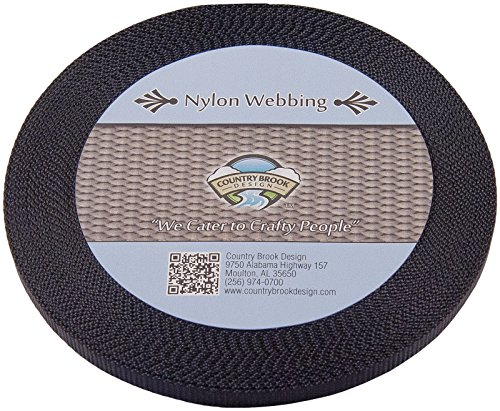 Country Brook Design 3/8 Inch Black Heavy Nylon Webbing, 10 Yards