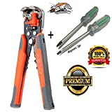 8-inch Self Adjusting Wire Stripper-Wire and Cable Crimping ,Stripping Cutting Pliers with Free Magnetic Head Screwdriver set