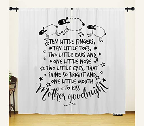 HGOD DESIGNS Funny Window Curtain,Funny Sheeps Poem Ten Little Fingers Ten Little Toes,Home Decor Window Curtains/Drape/Panels/Treatment Polyester Fabric Bedroom,54