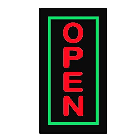 Amazon 17 X 9 In Vertical Fixed Flashing Led Neon Sign Open