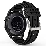 MoKo Gear S3 Watch Band, Soft Silicone Replacement Sport Strap for Samsung Gear S3 Frontier / S3 Classic / Moto 360 2nd Gen 46mm Smart Watch, NOT FIT S2 & S2 Classic & Fit2, BLACK