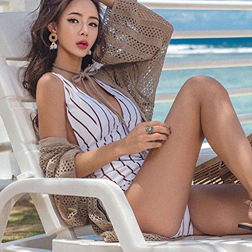 Plage Crème Solaire Vêtements Blouse Robe À Manches Longues En Dentelle Crochet Évider Conception Blanc-2 Khaki