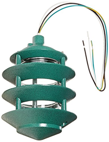 RAB Lighting LL22VG Incandescent 4 Tier Lawn Light, A-19 Type, 100W Power, 1650 Lumens, 120VAC, Verde Green