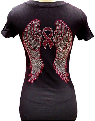 RHINESTONE ANGEL WINGS & BREAST CANCER AWARENESS RIBBON V NECK WOMENS FITTED TSHIRT (L) (Fitted Rhinestone Tee)