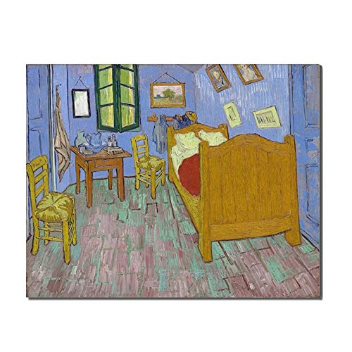 Renaiss 20x12 Inches Van Gogh Oil Painting La Chambre De Van Gogh À Arles Famous Canvas Paints Bedroom Living Room Kitchen Wall Decor Background Wall Art Frameless Rolled Package