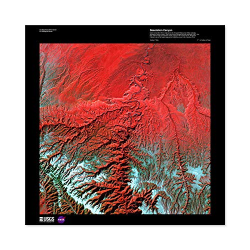 (Science Map Satellite Desolation Canyon Utah USA Replica Large Wall Art Poster Print Thick Paper 24X24 Inch)