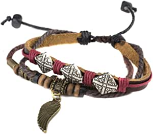 Bracelet Multilayered Leather, Leafs Shaped, Brown