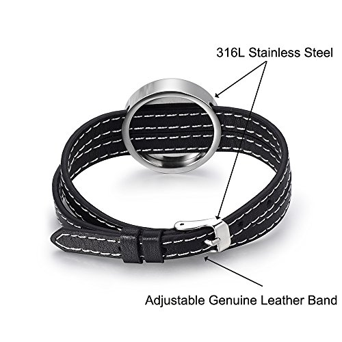 Adjustable Genuine Leather Band Bracelet Aromathrapy Jewelry Essential Oil Diffuser Fragrance Cuff Bangle (I Love U) by constantlife (Image #1)