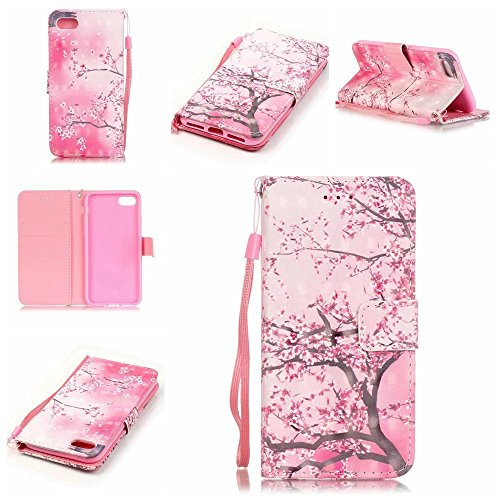 iPhone 7 Case, Kmety Cherry Blossoms PU Synthetic Leather Wristlet Magnet Snap Wallet [Credit Card/Cash Slots] Kickstand Flip Case Cover for Apple iPhone 7