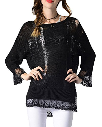 Mujeres Sudaderas Con Capucha Suéter Jersey de Manga Larga Alta Cuello Pullover Negro
