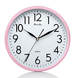 DreamSky 10 Non Ticking Wall Clock Decorative Indoor/Kitchen Round Clock ,3D Numbers (Pink)
