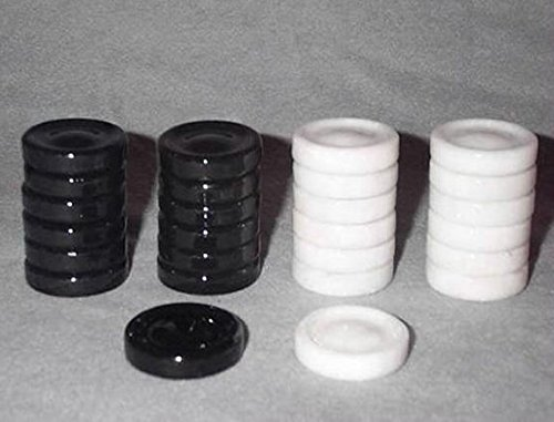 Alabaster Backgammon Checkers (Quality Stone Backgammon Pieces, Replacement Backgammon Checkers - 1 1/4 Inch)