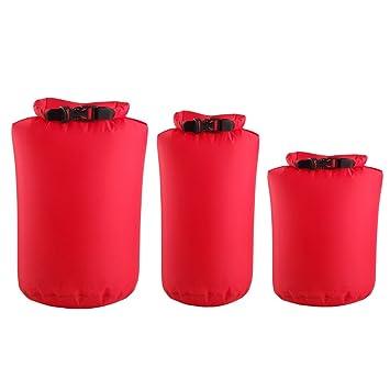 Un Paquete con 3pcs Bolsas Impermeables para Deportes Acuáticos Bolsas a Prueba de Agua (Rojo Oscuro)