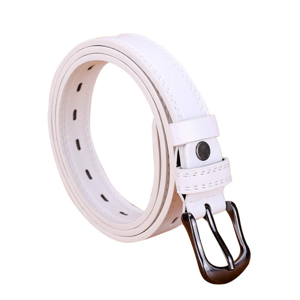 FEDULK Womens Skinny Waist Belt Thin Pin Buckle Narrow Waistband Pure Colour Leather Belt(White , One Size)