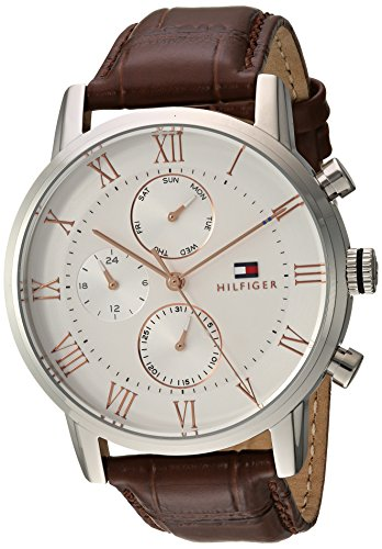 Tommy Hilfiger Men's Sophisticated Sport Stainless Steel Quartz Watch with Leather Strap, Brown, 21 (Model: 1791400) (21 Leather Watch Strap)