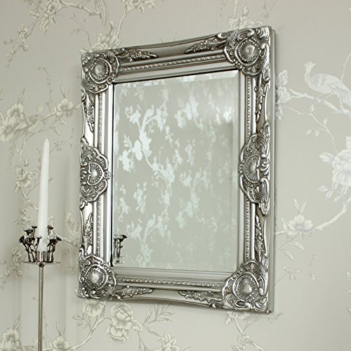 Melody Maison Ornate Silver Wall Mirror Bevelled Glass 52cm X 42cm