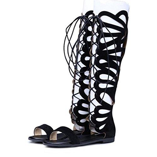 Plates Black Taoffen Chaussures Hauteur Sandales Ete Genou Lacets Spartiates Femmes zw6qTYgwO