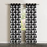 Cheap Best Home Fashion Room Darkening Big Triangle Print Curtains – Stainless steel Nickel Grommet Top – Black – 52″W X 84″L – (Set of 2 Panels)