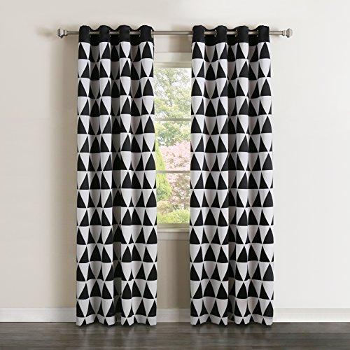Best Home Fashion Room Darkening Big Triangle Print Curtains - Stainless steel Nickel Grommet Top - Black - 52
