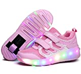 Nsasy Roller Shoes Girls Roller Skate Shoes Boys Kids LED Light up Wheel Shoes Roller Sneakers Shoes Wheels for Kids for Kids