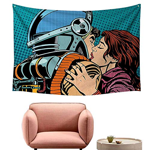 alsohome Bedroom Tapestry Wall Hanging Square Tapestry for Living Room The Astronaut Kisses His Wife Illustration Pop Art Retro Style Print Petrol Blue 80