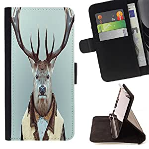 - Deer - - Style PU Leather Case Wallet Flip Stand Flap Closure Cover FOR HTC DESIRE 816 - Devil Case -