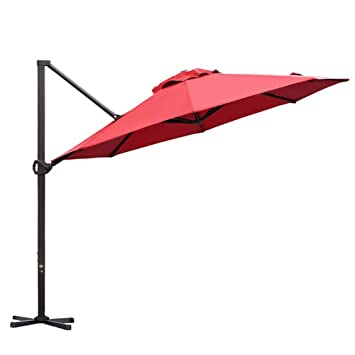 91ad689b1f1a Abba Patio 11 Ft Offset Patio Umbrella with Crank Lift and Tilt and Cross  Base, Dark Red