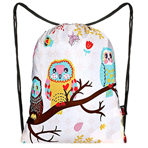 iColor Sackpack,Drawstring Backpacks,Stylish Multipurpose Girls Nylon Drawstring Bags Gym Bags,Teen Dance Bag, Lightweight Gym Bag for Women Cycling Hiking,Team Training Gymsack (Three Owl) (Basketball Owls)