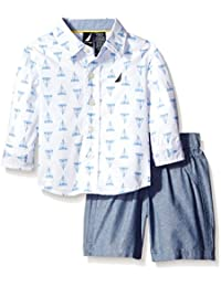 Baby Boys' Long Sleeve Button Down and Flat Front Short Set
