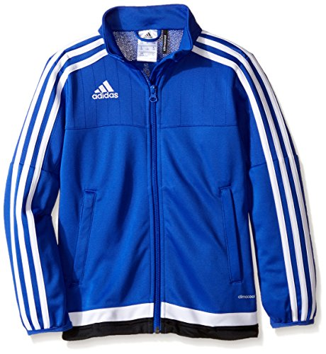adidas Youth Soccer Tiro 15 Training Jacket, Bold Blue/White/Black, Medium