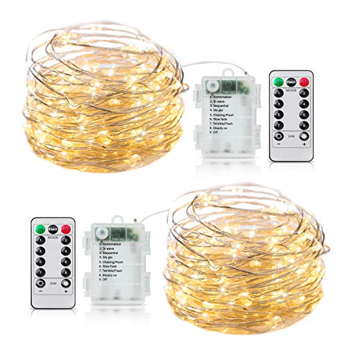 2 Pack Fairy Lights Battery Operated, 20Ft 60 LED String Lights with Remote Timer 8 Lighting Modes Waterproof Silver Wire Twinkle Lights for Indoor Bedroom Garden Christmas Party Decor Warm White (Hanging Lights Christmas Tips)