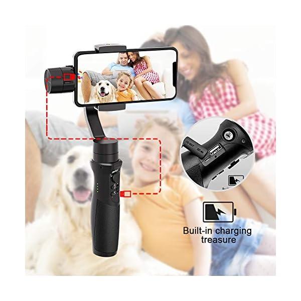 Stabilizzatore Gimbal – 3 Assi Stabilizzatore Smartphone Spruzzi d'acqua Prova con 6 Modalità Treppiedi e 3600mAh Batteria, Gimbal Smartphone iOS&Android Caricamento 280g, Adatto Samsung/Huawei/iPhone 6 spesavip