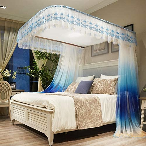 引き込み式ベッドキャノピー,ガイド レール 暗号化糸蚊帳 レース ベッドキャノピー の-形 ダブルベッド用ベッドカーテン-a
