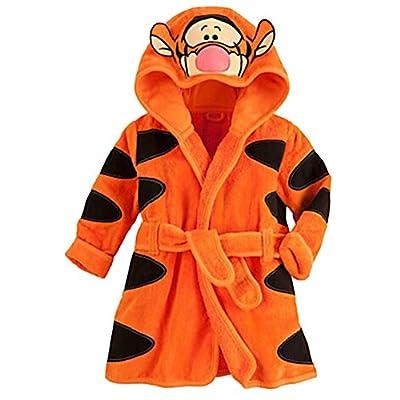 EITC Cartoon Tiger Style Hooded Bathrobe Kids Cute Fleece Robe Pajamas Sleepwear